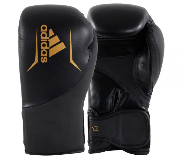 Перчатки боксерские Adidas Speed 200 натуральная кожа черно-золотые