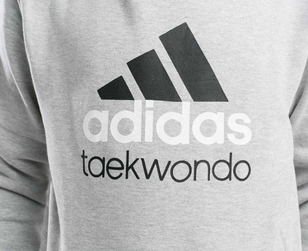 Толстовка с капюшоном детская Adidas Community Hoody Taekwondo Kids серо-черная