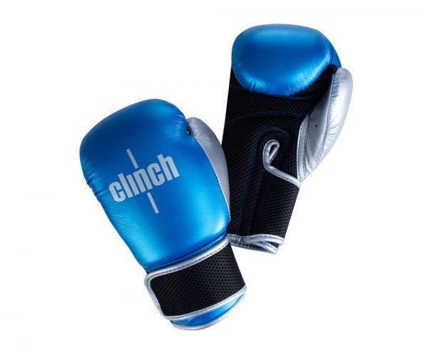 Перчатки боксерские Clinch Kids сине-серебристые 4 oz