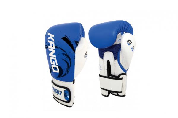 Перчатки боксерские Kango BVK-083 Blue/White Буйволиная кожа