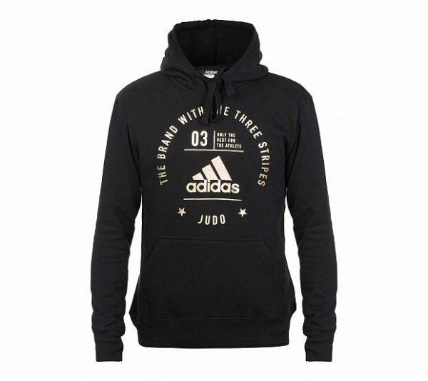 Толстовка с капюшоном детская Adidas The Brand With The Three Stripes Judo Kids черно-золотая
