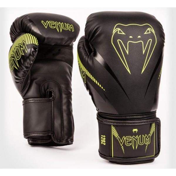 Перчатки боксерские Venum Impact Black/Neo Yellow