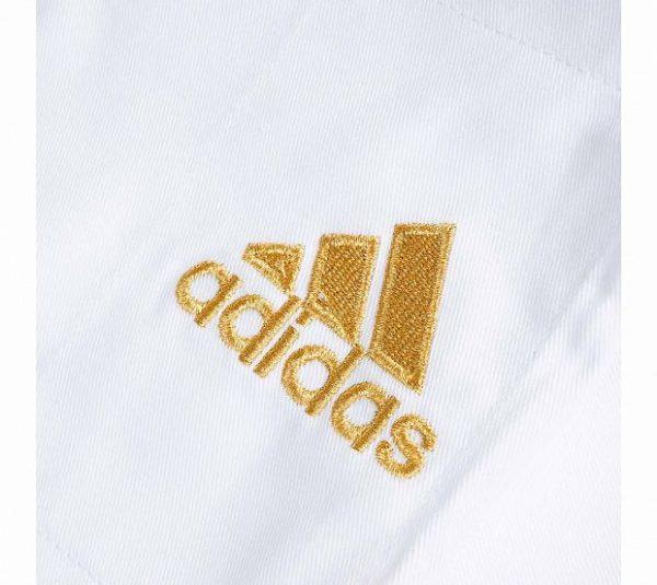J-IJF Кимоно для дзюдо Champion 2 IJF Olympic Adidas белое с золотым логотипом