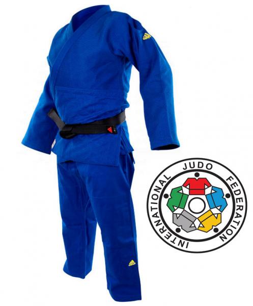 J-IJFB Кимоно для дзюдо Champion 2 IJF Olympic Adidas синее с золотым логотипом